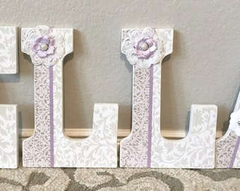 Wooden Nursery Letters - Baby Girl Nursery Decor- Wall Letters, lavender , Personalized Baby Shower Gift-The Rugged Pearl