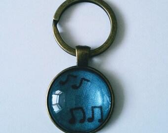 Music Note Keyring, Blue and Black Musical Keychain, Glass Pendant Keyring, Antique Bronze Keyring, Musical Fabric Keyring