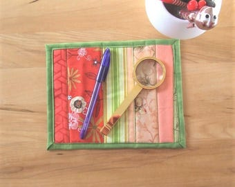 Mug rug - reusable snack mat - mini quilt - thank you - desk accessory - large fabric coaster - dresser topper - candle mat - green pink