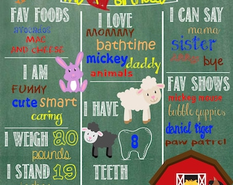 Farm Animal Birthday Chalkboard **printable** ANY SIZE!