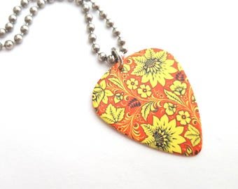 Yellow Floral Guitar Pick Necklace with Stainless Steel Ball Chain