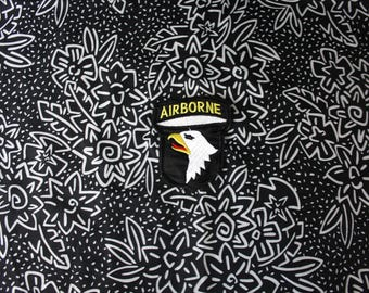 Vintage Military Airborne Eagle Embroidered Patch. Retro Black Air Force Military Collectible Small Patch. Army Air Force Navy Marines Patch