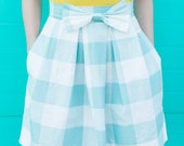 Blue and White Gingham Structured Women's Bow Skirt