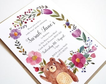 Teddy Bear Picnic Invitation - Baby Shower, Christening, Mitzvah, Birthday, 1st Birthday, Party Invitations, Afternoon Tea, Announcement