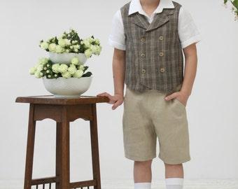 Boys linen shorts Toddler boy shorts Ring beares shorts Birthday party Natural linen shorts Boys trousers Summer clothes Family photo