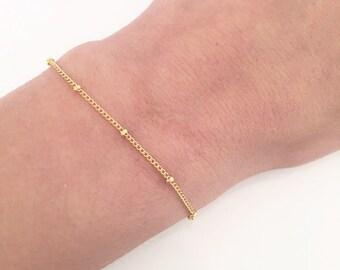Beaded chain bracelet - Thin chain bracelet - Gold bracelet - Minimalist jewelry - Dainty chain bracelet - Dew drops - Gift for her