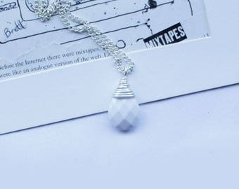 Bridal Necklace White And Silver Filled Pendant