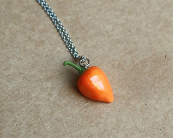 Habanero Pepper Necklace - Food jewelry, Fruit Jewelry, Polymer Clay, Food Necklace, Habanero necklace, Pepper, Miniature Food