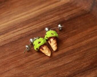 Pistachio ice cream earrings - food jewelry - miniature food jewelry