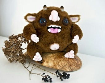 Happy Brown Monster, fantasy creature, OOAK soft art toy