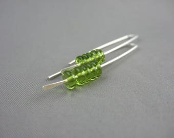 Green Stacked Earrings - Olive Green Czech Glass and Sterling Silver Earrings