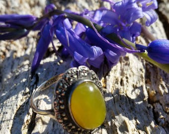Sterling Silver, Marcasite and Nephrite Jade Ring