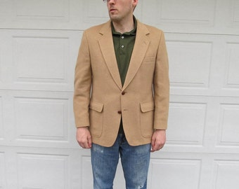 1960s mens vintage Camel Hair jacket, camel hair blazer, vintage camel, Large