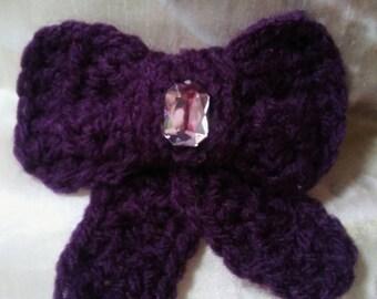 Purple bow hair clip-purple bow hair barrette-crochet purple bow hair clip-ladies/girls hair accessorie