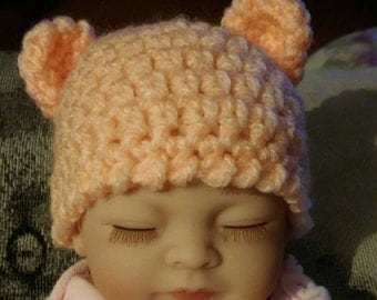 Dolls hat, mitts and booties-reborn dolls clothes-small reborn hat and mittens-baby doll outdoor set-dolls teddybear hat