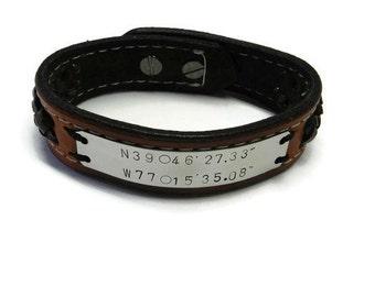 Mens Leather Coordinate bracelet, Personalized GPS Coordinates Gift , GPS Bracelet, Mens Bracelet - Men's Leather Bracelet