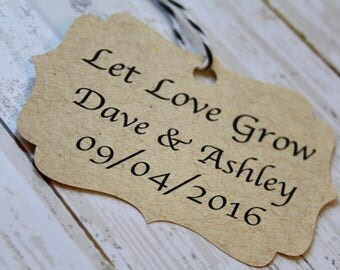 Wedding Favor Tag, Let Love Grow, Bracket Tag, Thank You I Do, Favor Tag, Gift Tag, Weddings