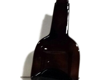 Dark Amber, melted liquor bottle, spoon rest, cheese tray, recycled glass, re-purposed, melted amber bottle, hostess gift, READY to ship