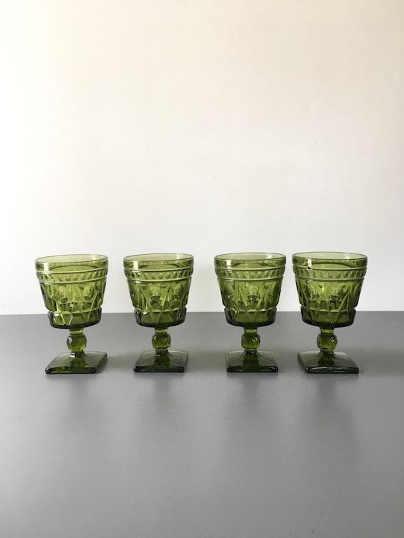 vintage Colony Park Lane water glass goblets Green stemmed glasses set of 4 mid century
