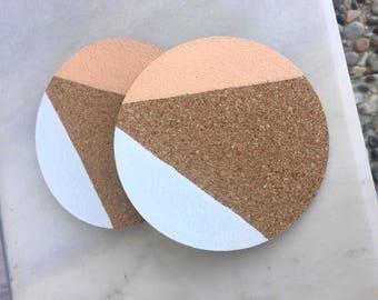 Peach and White Cork Coasters, Geometric Coasters, Cork Coaster, Painted Round Cork Coasters, Cork Drink Coasters, Circle Coasters