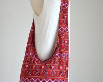 Red Hill Tribe Cotton Bag Boho Hobo Bag Hippie Elephant Crossbody Bag Shoulder Bag Messenger Bag Diaper Bag Purse