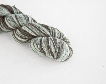 Artistic wool, laceweight art wool brown-grey-white colors, Longstriped artistic wool. Aade Long - Lamb