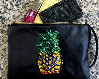 Pineapple Bag - Pineapple Wristlet - Clutch - Yellow Bag - Pineapple Print -Pineapple pattern -Summer bag - Beach Bag -Makeup Bag