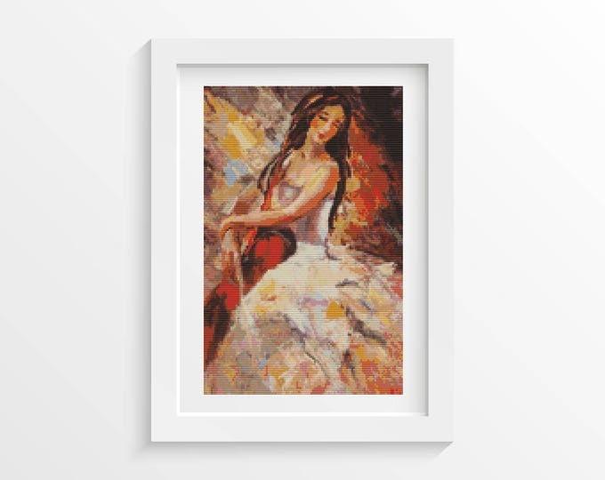 Cross Stitch Pattern PDF, Embroidery Chart, Art Cross Stitch, Woman Cross Stitch, The Cellist (ART028)