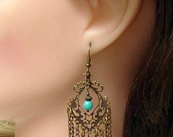 Bronze Chain Earrings, Long Chain Earrings, Turquoise Gemstone, Rustic Vintage Look, Boho Tribal Gypsy, Clip On Earrings.