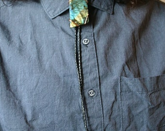 Labradorite Crystal Bolo Tie with Your Choice of Genuine or Faux Leather Cord