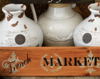 French market wooden sign. Hand Painted Decorative wall sign for kitchens and restaurants.