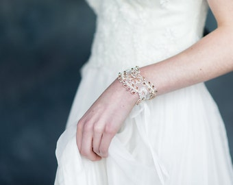 Rose Gold Crystal Bridal Cuff, Bridal Bracelet, Rhinestone Bracelet, Lace Crystal Cuff, Pearl Bracelet, Gold Cuff, Silver Bridal Cuff, RUTH