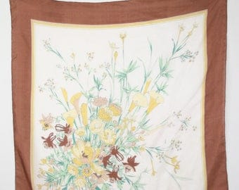 Vintage Calla Lily Bouquet Chinese Silk Large Square Scarf Hand Rolled Hem