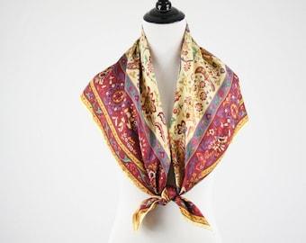 Vintage Floral Border Print Silk Twill Large Square Scarf