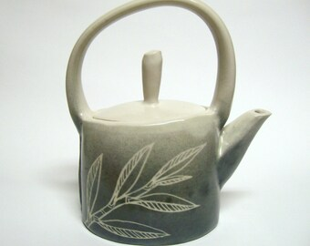 Willow Leaves Teapot in Gray with built-in strainer, Ceramic Pottery Tea Pot Ready to Ship