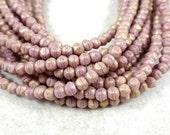 Czech Beads, 3mm English Cut, Czech Glass Beads - Pacifica Fig, Golden Mauve (EC3/SM-PS1008) - Qty. 50