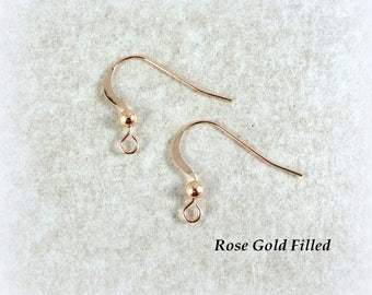 Earwires, Earring Hooks, Rose Gold Ear Wires - 14K Rose Gold Filled Hook Wire 20mm with 3mm Ball (259RF) - Qty. 6