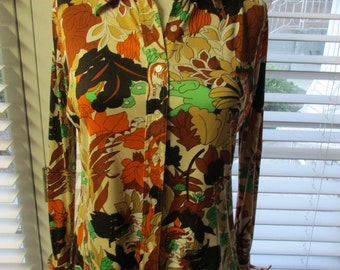 Vintage 1970's Jungle Animal Printed Blouse - Cats, Lions, Tigers, Elephants, Zebras, Giraffes, Turtles, Frogs, Snakes! Medium