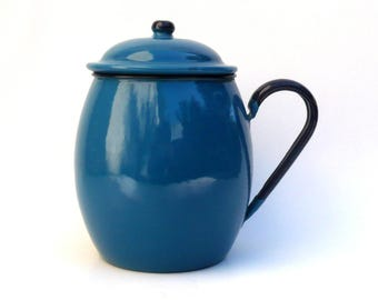 Blue Enamel Pot ,Midcentury Enamel ,  1960s , Photo Prop , Rustic Decor, Flower Arranging