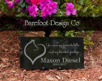 Granite Personalized Dog Heart Pet Memorial Stone