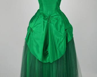 1950s Vintage Prom Gown Emerald Green Taffeta & Tulle