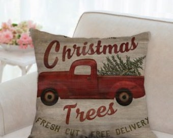 Red Truck Delivery Fresh Christmas Trees Designer Pillow
