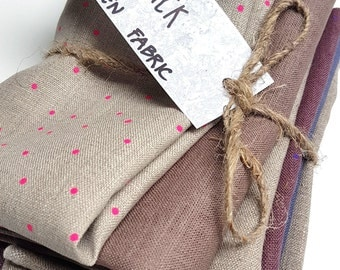 Naturally Linen fabric Scrap Pack. Natural Fabric Scraps. Linen Scrap Pack. Patchwork Fabric. Linen remnants. flax fabric.