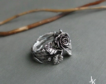Rose twig ring - handsculpted cast sterling silver floral - floral band - nature ring - MADE TO ORDER