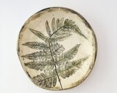 Earth Tones Locally Harvested Pressed Fern Ceramic Catch All Dish (no 801)