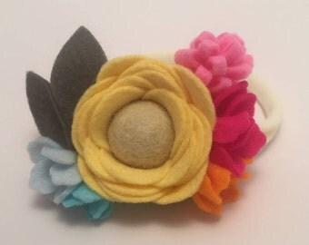 Yellow Felt Flower Headband, Spring, Easter