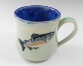 Salmon coffee mug - ceramic coffee mug - salmon fish coffee mug - blue green coffee mug - pottery mug -  M95