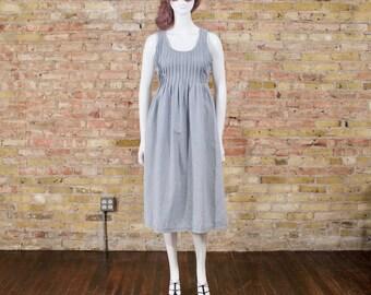 engineer stripe denim jumper / pin stripe jean jumper / pintuck pleats / midi jumper dress / 90s jean jumper / denim dress / loose fit