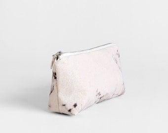 Minimal Zipper Pouch - Bridesmaids Gift - Elegant Flowers Travel Case - Beige Zipper Pouch - Small Canvas Makeup Bag - Wedding Cosmetics Bag