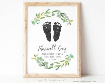 Rustic Nursery Decor, Boys Boho Watercolor Birth Announcement Wall Art, Personalized Baby Footprints, Your Child's Feet 8x10 in, UNFRAMED